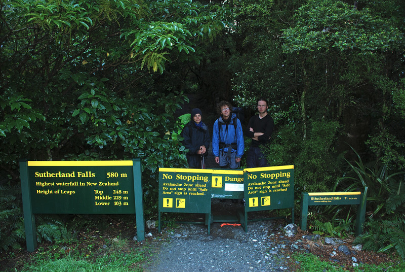 Back on the Milford Track. The Sutherland Falls track was closed due to flooding. Of course, we came to the barricade from behind...