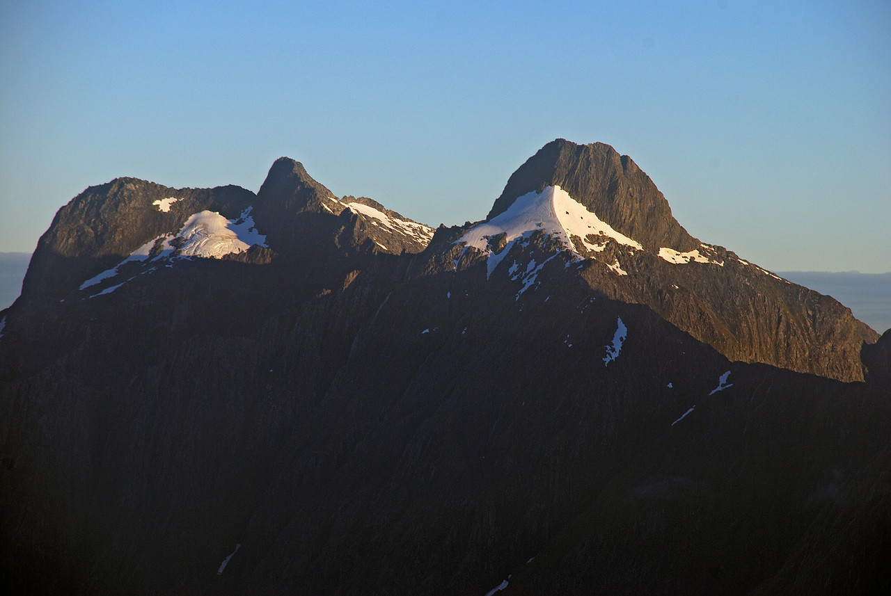 The Lady of the Snows (right) and unnamed peak 1811m, from the north-east ridge of Mt Hart
