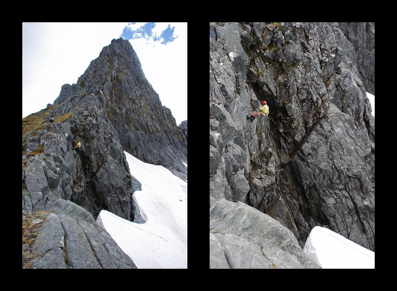 Abseiling on the Nicholas Peaks