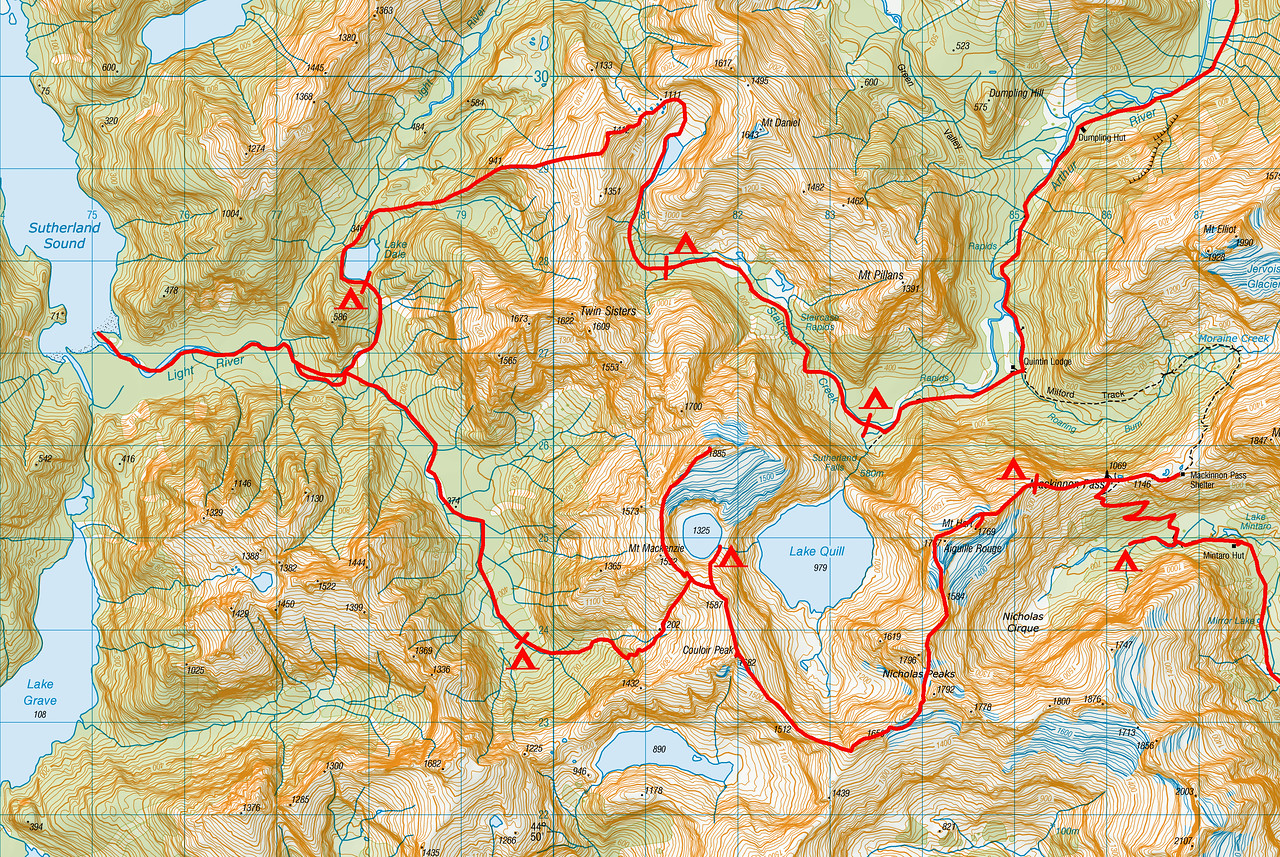 "Trip map - detail of alpine section. 1 grid square = 1km. Left click on map then select ""Sizes -> Original"" in bottom right corner of screen to view full size"