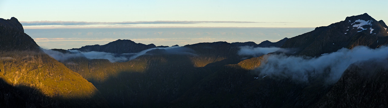 Mt Daniel (on the far right) from the north-east ridge of Mt Hart