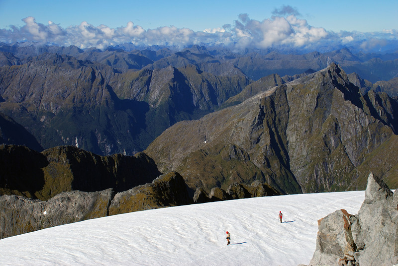 George and Raph approaching the summit of unnamed peak 1885m. Light - Dark Saddle and unnamed peak 1682m behind.