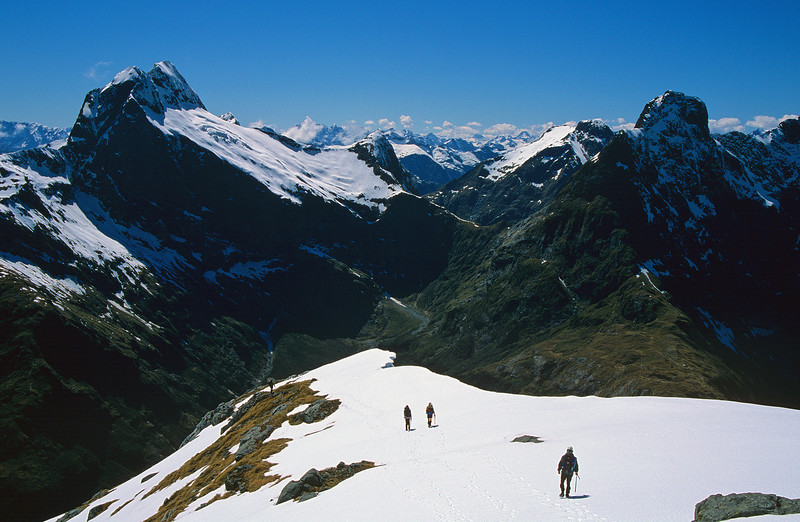 Descending the north-east ridge of Mount Hart. Mount Elliot and Mount Balloon above