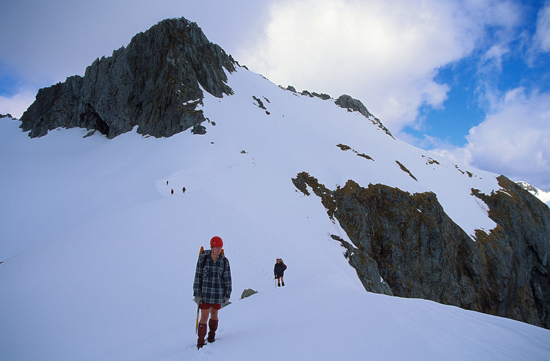At the top of the spur descending from Aiguille Rouge to the outlet of Lake Quill