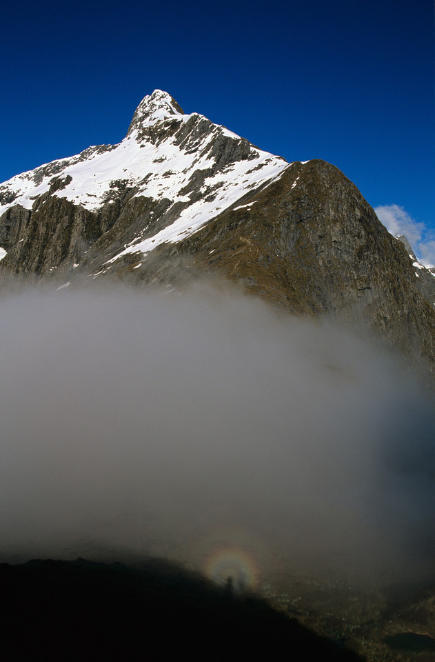 Glory (Brocken Spectre) on MacKinnon Pass. Mount Hart above