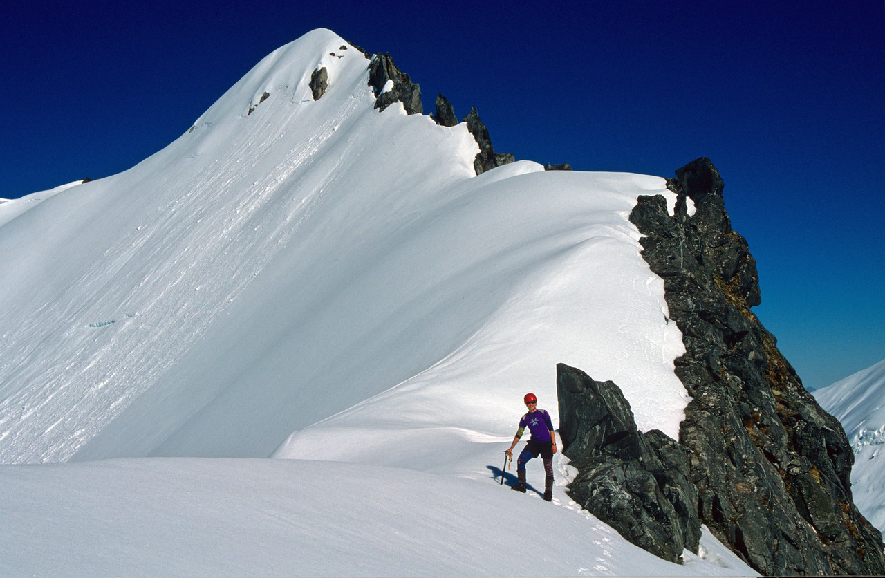 On the saddle between Mount Hart and Aiguille Rouge. Aiguille Rouge above