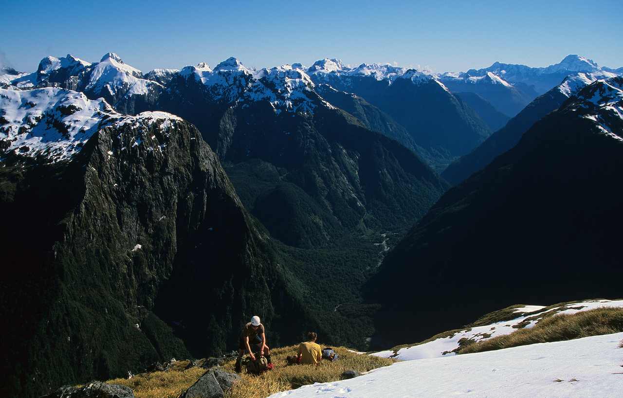 Mount Pillans and the Arthur River. Peaks on the skyline are, from left to right, the Lady of the Snows, Mount Danger, the Llawrenny Peaks, Mount Grave, Mount Tutoko