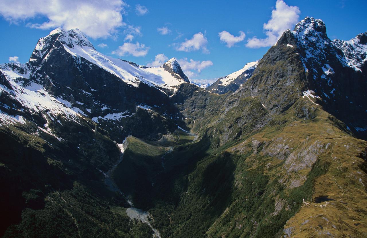 Mount Elliot, Mount Wilmur and Mount Balloon from MacKinnon Pass