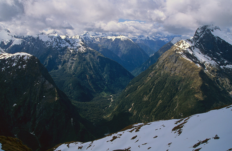View down the Arthur River from the slopes of Aiguille Rouge