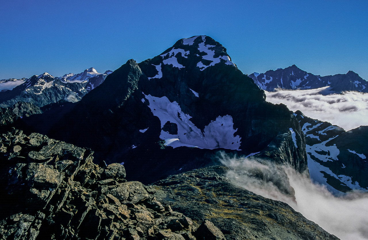 View from Unnamed Peak 1777m: Somnus (left), Unnamed Peak 1945m (centre), Unnamed Peak 2117m (centre right)