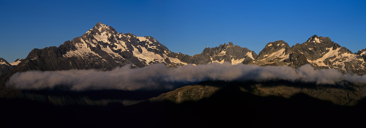 Mount Christina, Mount Crosscut and Mount Lyttle from Lake Roberts