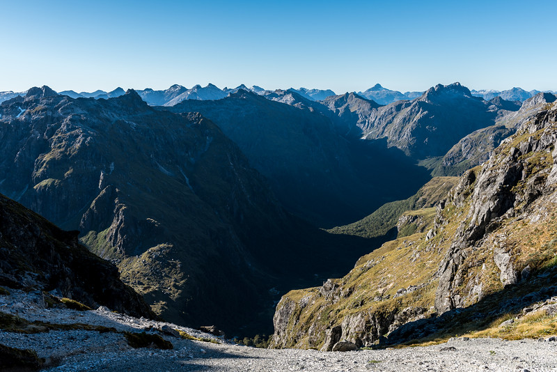 View into the Iris Burn (back) and its unnamed tributary west of Spire Peak (front). This was our descent route.