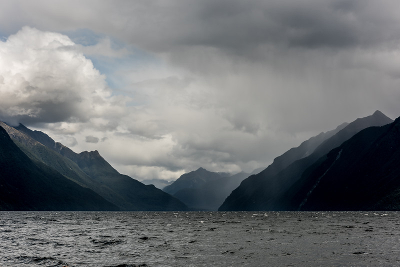 Rain showers over the South Arm of Lake Manapouri