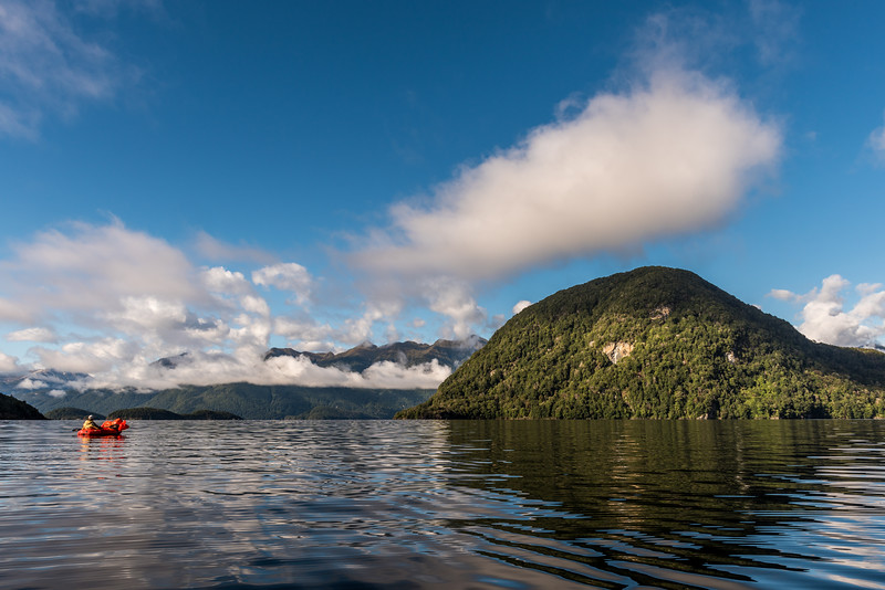 Paddling towards the Beehive, Lake Manapouri