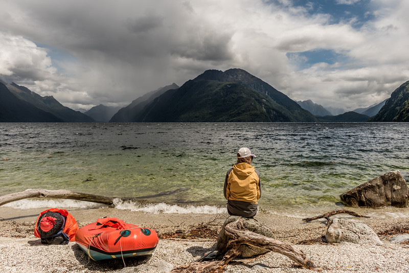 Waiting for the water to calm down to resume paddling on Lake Manapouri