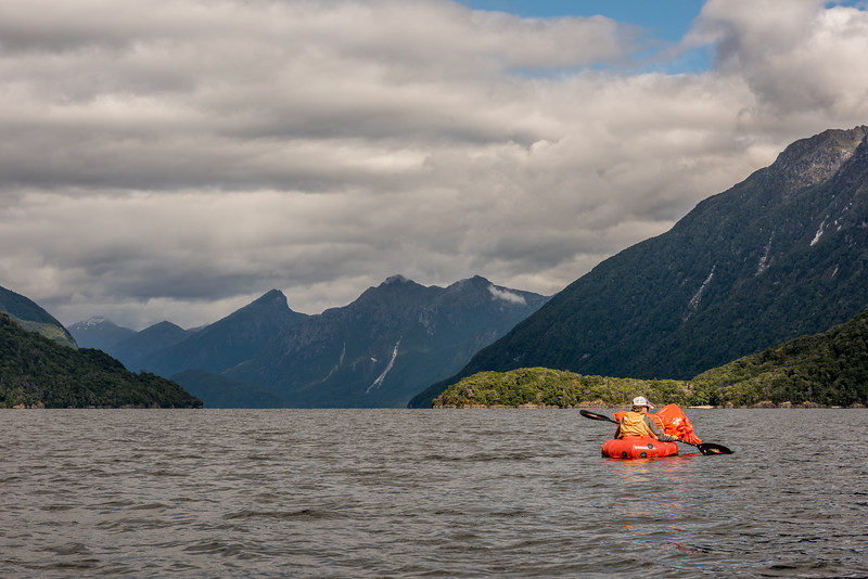 Entering the Hurricane Passage, Lake Manapouri. Leaning Peak is in the background