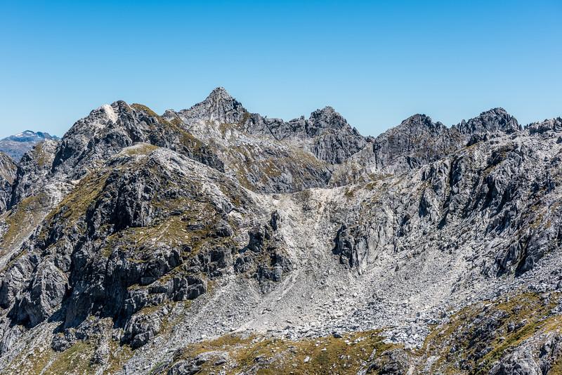 Unnamed peak Pt 1616m from the slopes of Pt 1720m, Kepler Mountains