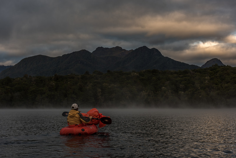 Paddling Lake Manapouri in the first morning light