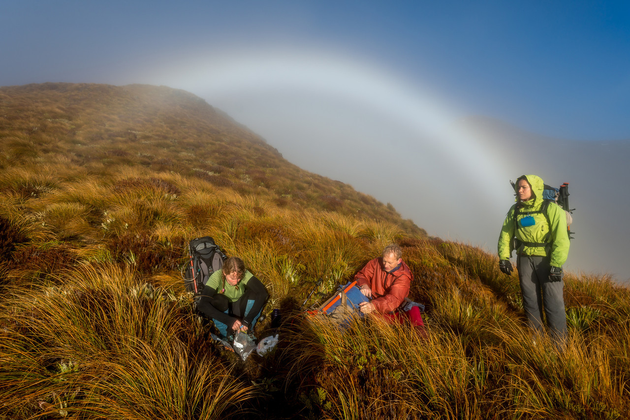 Cloudbow on the Livingstone Range tops above McKellar Hut