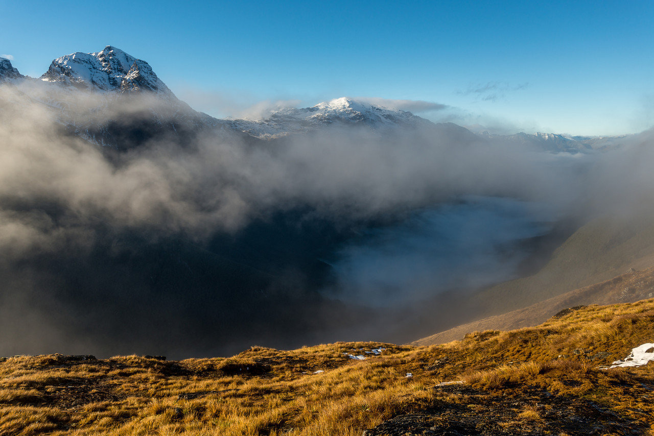 Unnamed Peaks pt 2096m (left) and 1916m (right), Ailsa Mountains, above a fog-filled Greenstone Valley