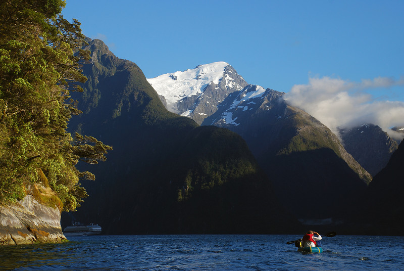 Paddling across Milford Sound. Mount Pembroke above