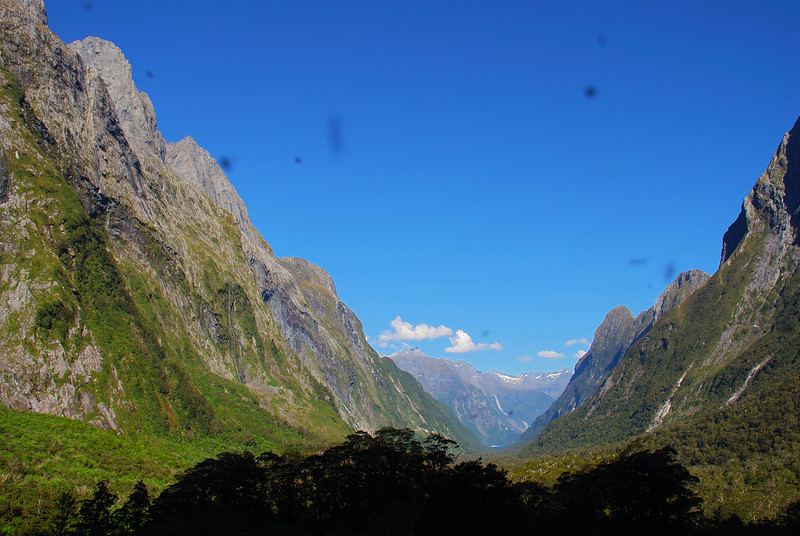 View down Sinbad Gully from the valley head - with sandflies! Mitre Peak on the left, Mount Philipps on the right