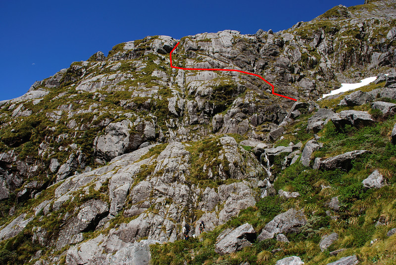 Our route out of the Sinbad's upper basin and onto the Llawrenny Peaks' northern spur