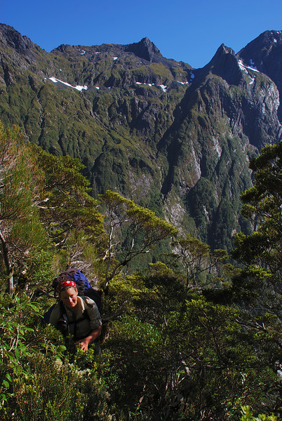 Bashing up the spur at the head of Sinbad Gully. Pt 1415m behind