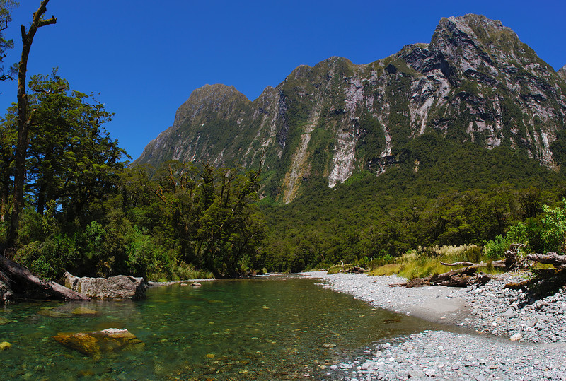 View down Sinbad Gully from the first river flats. Mt Philipps to the left of centre image