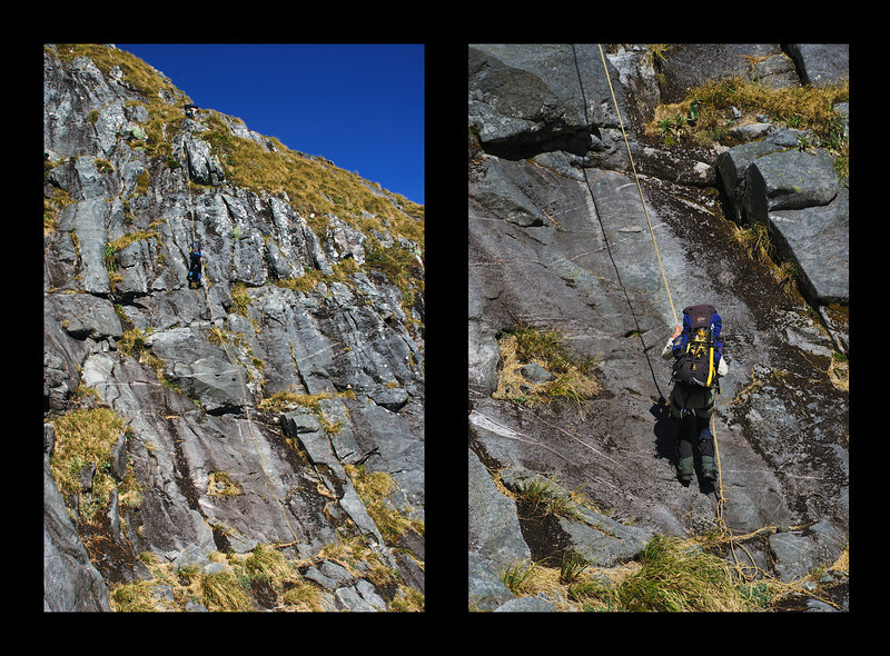 Abseiling awkward terrain at the top of the Llawrenny Peaks' northern spur