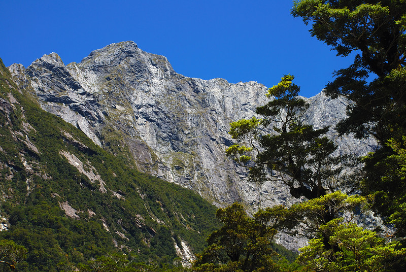 Sinbad Gully: the impressive rock walls below the east ridge of the Llawrenny Peaks