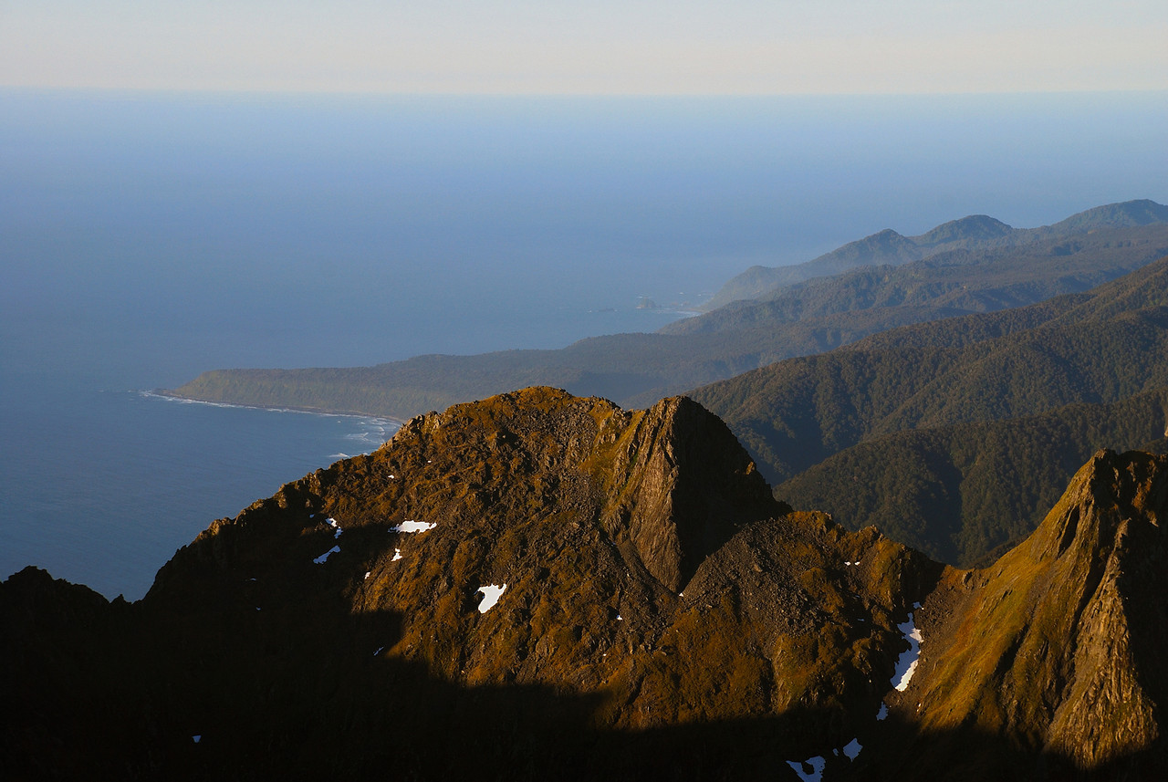 Yates Point and the coastline north of Milford Sound from the Llawrenny Peaks