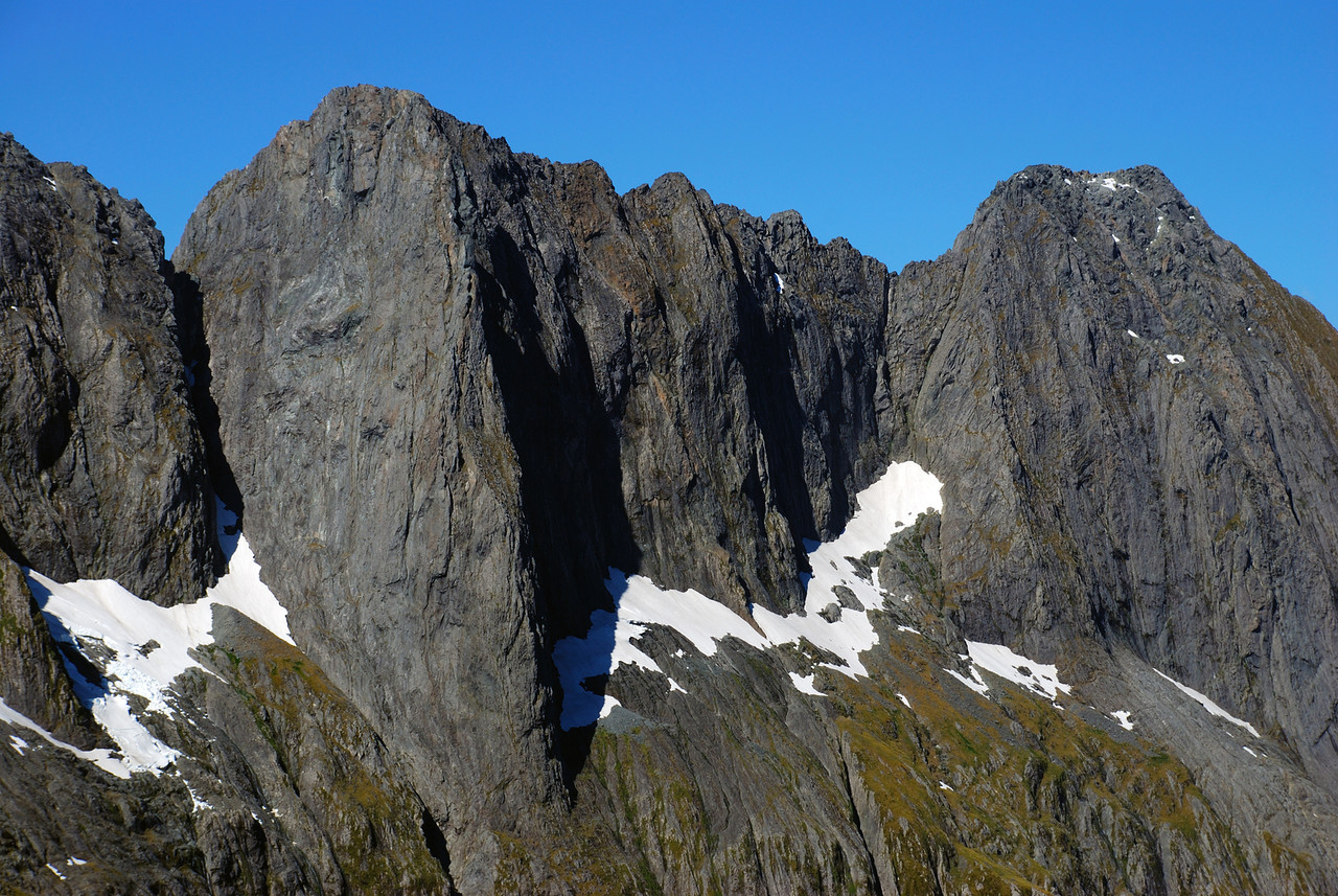 Mitre Peak south face, top section. Middle Peak (left) and Low Peak (right)