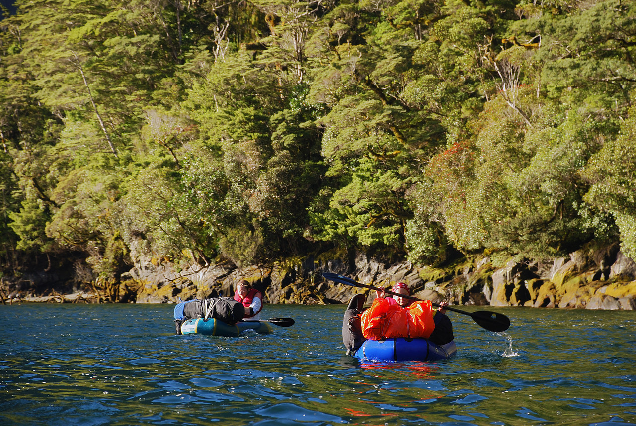 Paddling across Milford Sound