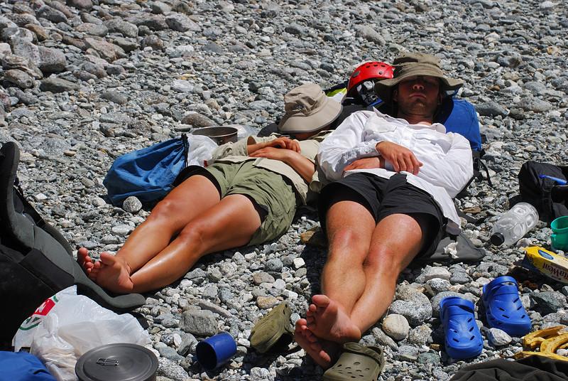 Enjoying the hot sunshine in Sinbad Gully. As you do in Fiordland...