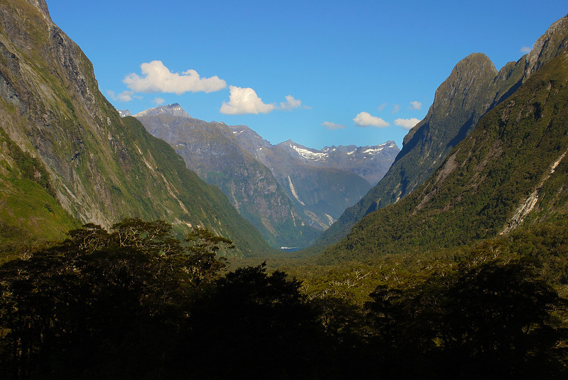 View down Sinbad Gully from the valley head. The most prominent peaks are Mt Underwood (left, under cloud), unnamed peak 1870m south of Apirana (centre image), the Twins (right) and Mount Philipps (right, in the foreground)