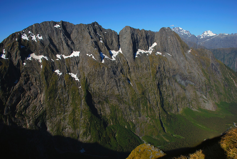 View of Mitre Peak from the Llawrenny Peaks' northern spur. Mt Tutoko and Mt Madeline back right