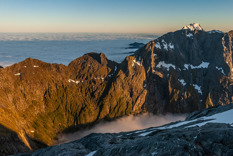 Mitre Peak ridge and Mount Pembroke at sunrise. View from the Llawrenny Peaks.