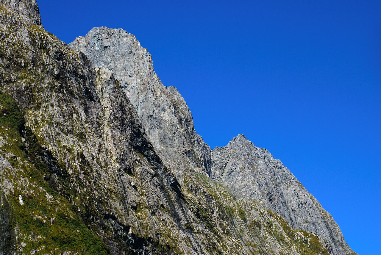Mitre Peak (middle and low peaks) from the head of Sinbad Gully