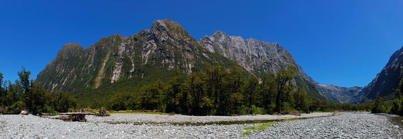 Sinbad Gully: the range connecting Mt Phillips (left) to the Llawrenny Peaks from the first river flats