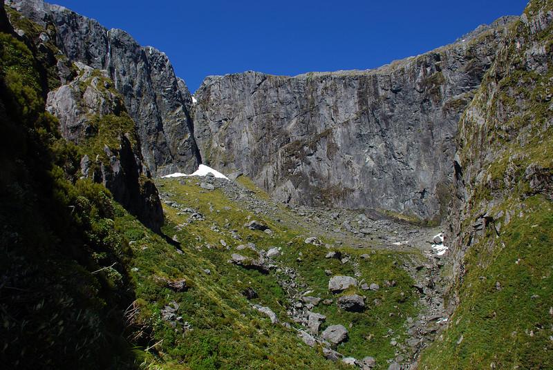 Sinbad Gully upper basin and Sinbad Wall