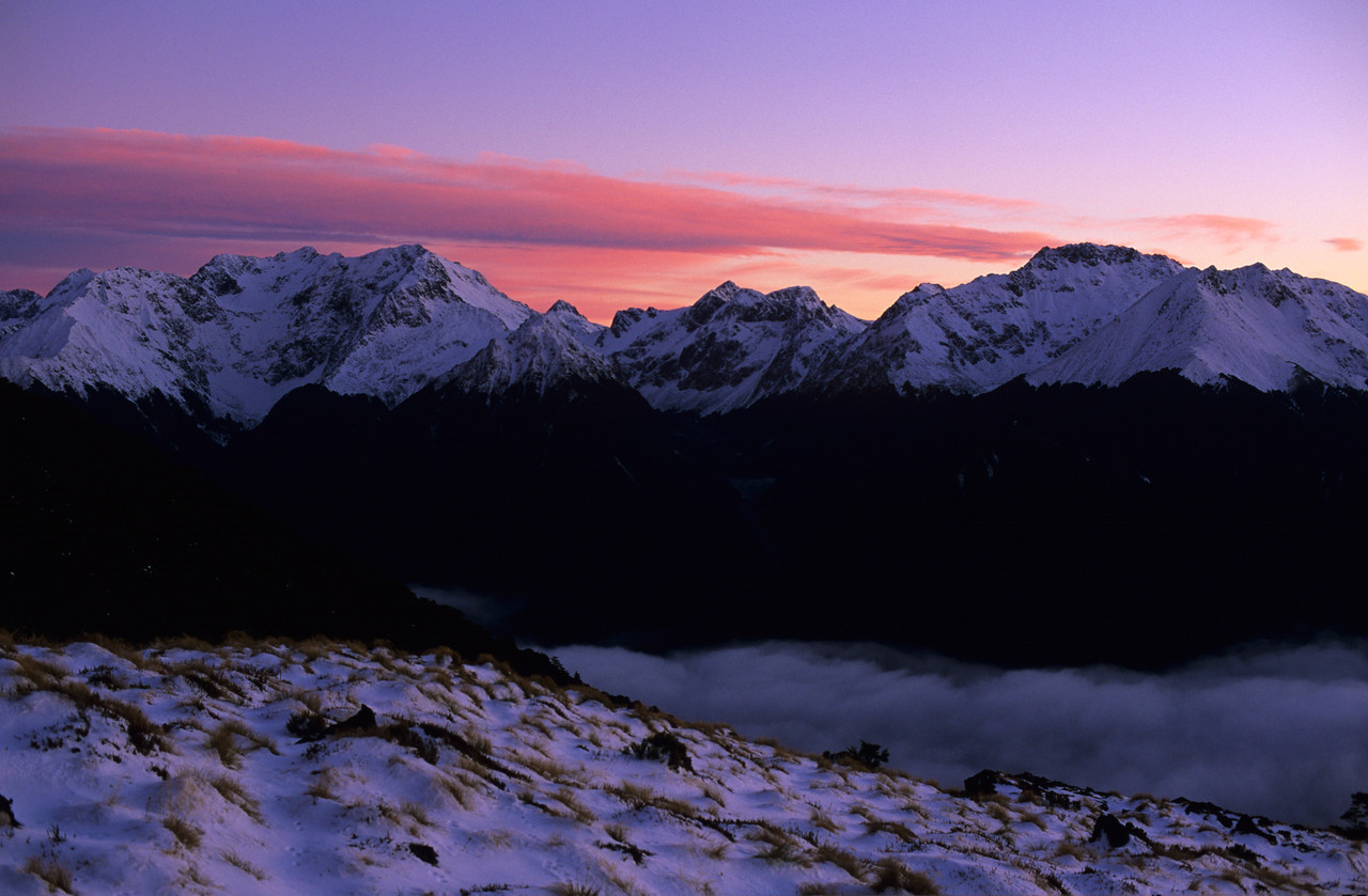 The Murchison Mountains at dawn. Mount Owen to the left; Black Cone right