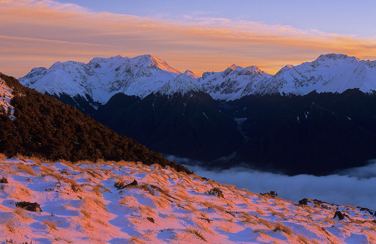 Sunrise at Luxmore Hut. Mount Owen to the left; Black Cone right
