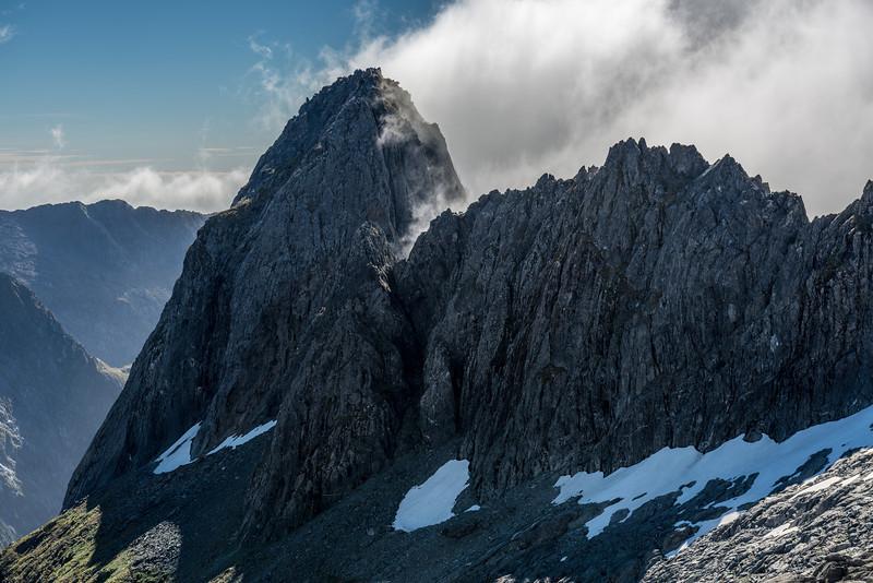 "Unnamed Peak Pt 1633m (Rhys Buckingham's ""Mount Tusk"") above Lake Liz"