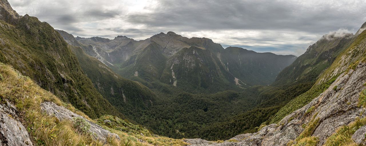 View into the Transit River from the slopes below Lake Liz. Kakapo Castle is in the top left corner of the image
