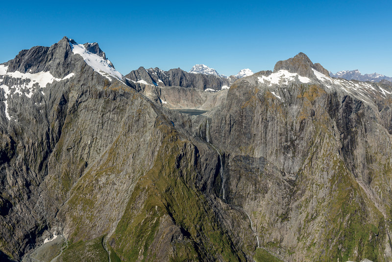 The Llawrenny Peaks, Lake Terror and Terror Peak, with Terror Falls (the highest waterfall in New Zealand) at centre image