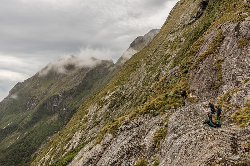 Descending steep slopes below Lake Liz