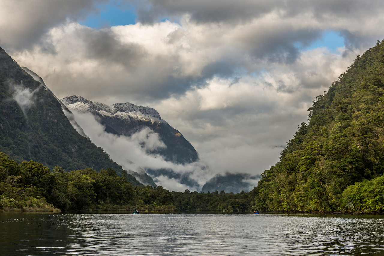 Paddling towards Sandfly Point, Milford Sound