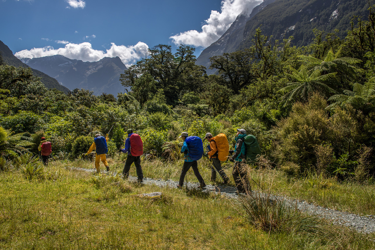 A group of tourists walking the Milford Track - all wearing full storm gear, I guess to protect themselves from sunburn? (and their packs from UV radiation)
