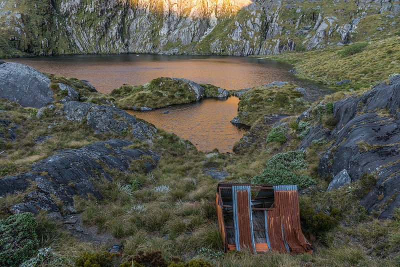 The old kakapo bivvy near the outlet of Lake Liz